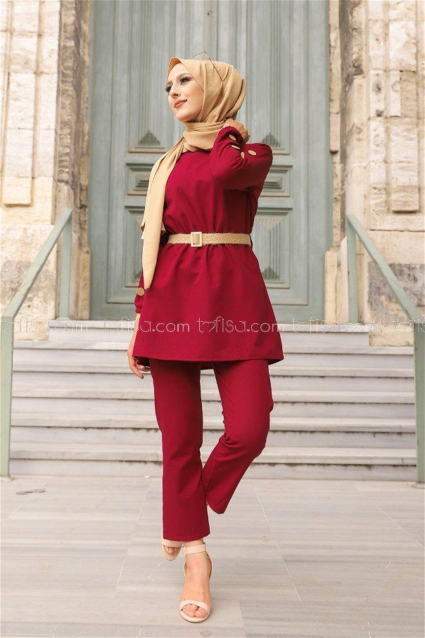 Tunic Pant Belt Dark Claret Red - 2792