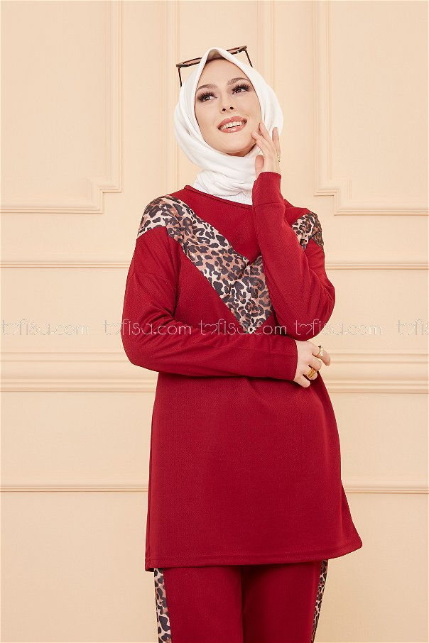 Tunic Pant Leopard Claret Red - 02 6997
