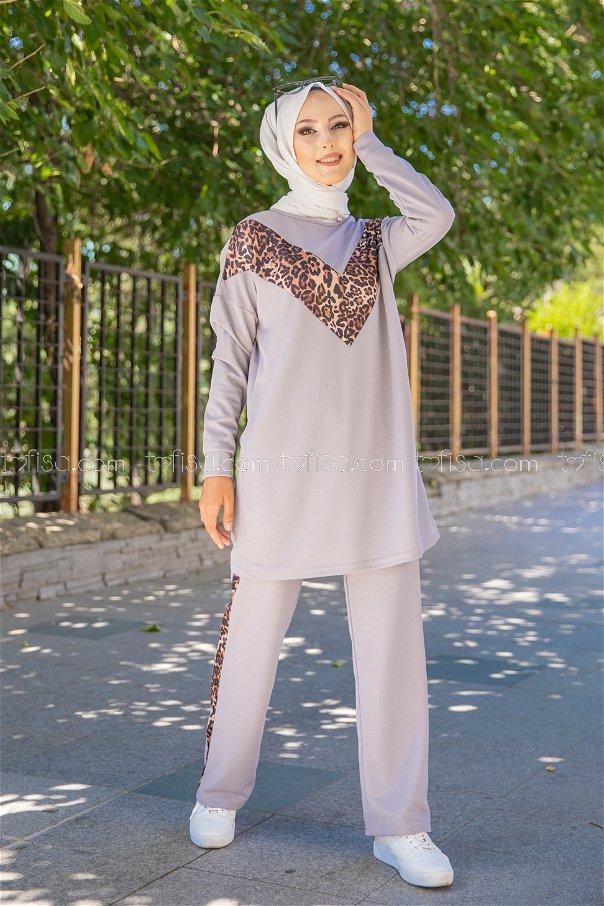 Tunic Pant Leopard Grey - 6997