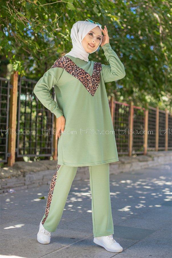 Tunic Pant Leopard Pistachio Green - 6997