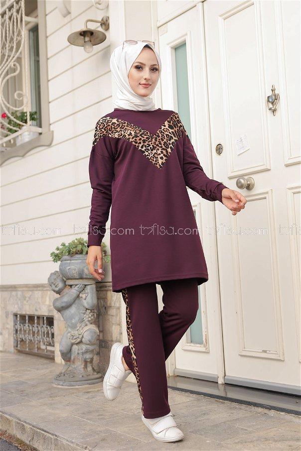 Tunic Pant Leopard Purple - 6997