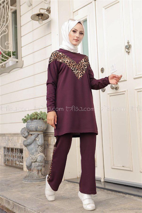 Tunic Pant Leopard Purple - 6997