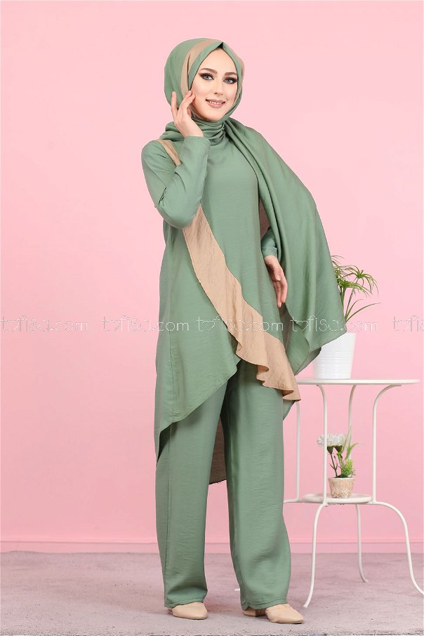 Tunic Pants Wrap Khaki - 3043