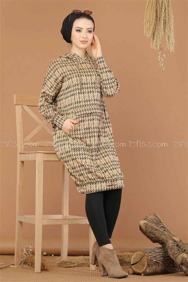 Tunic patterned Hooded mink - 8203