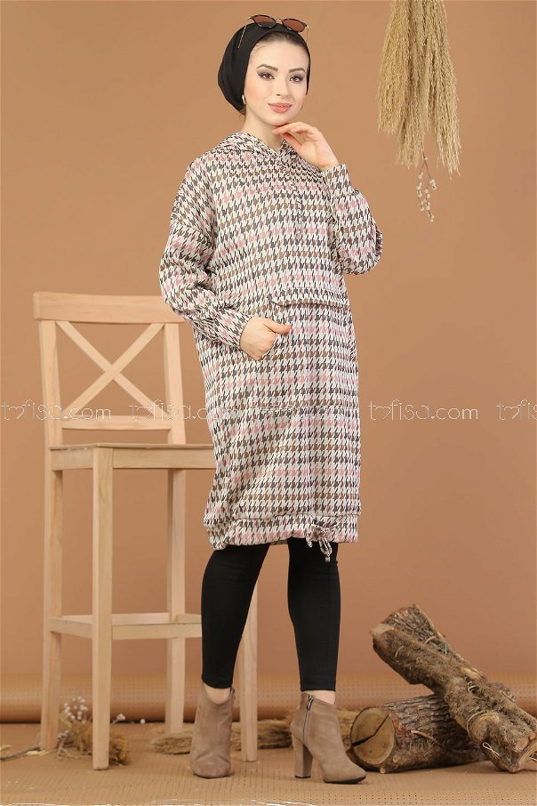 Tunic patterned Hooded Powder - 8203