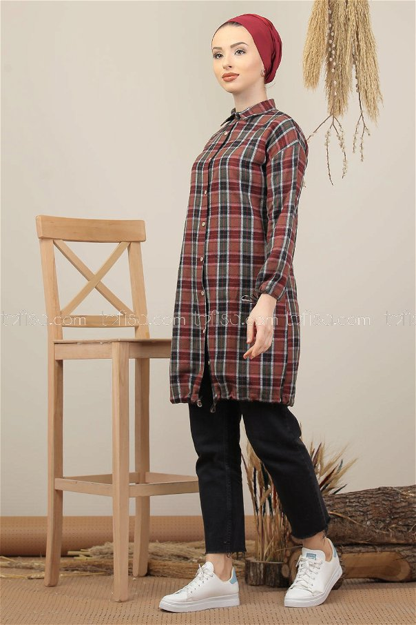 Tunic Plaid claret red khaki - 7975