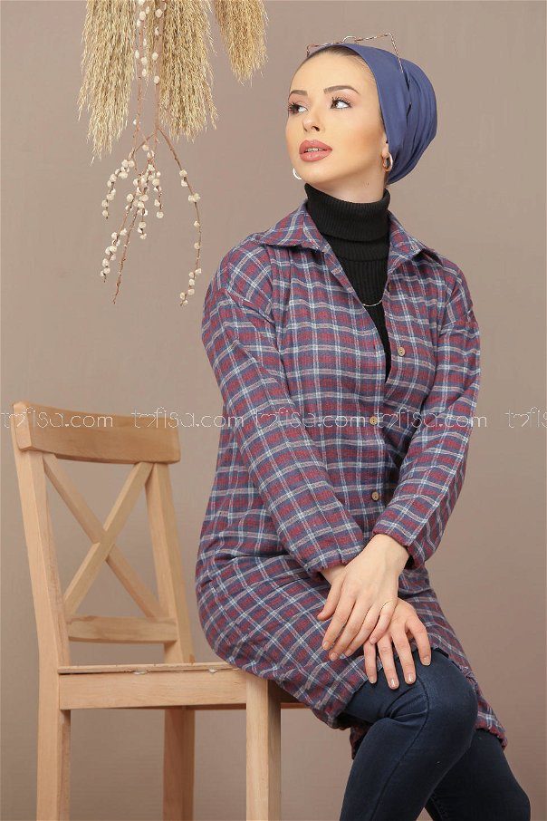Tunic Plaid navy blue claret red - 7931