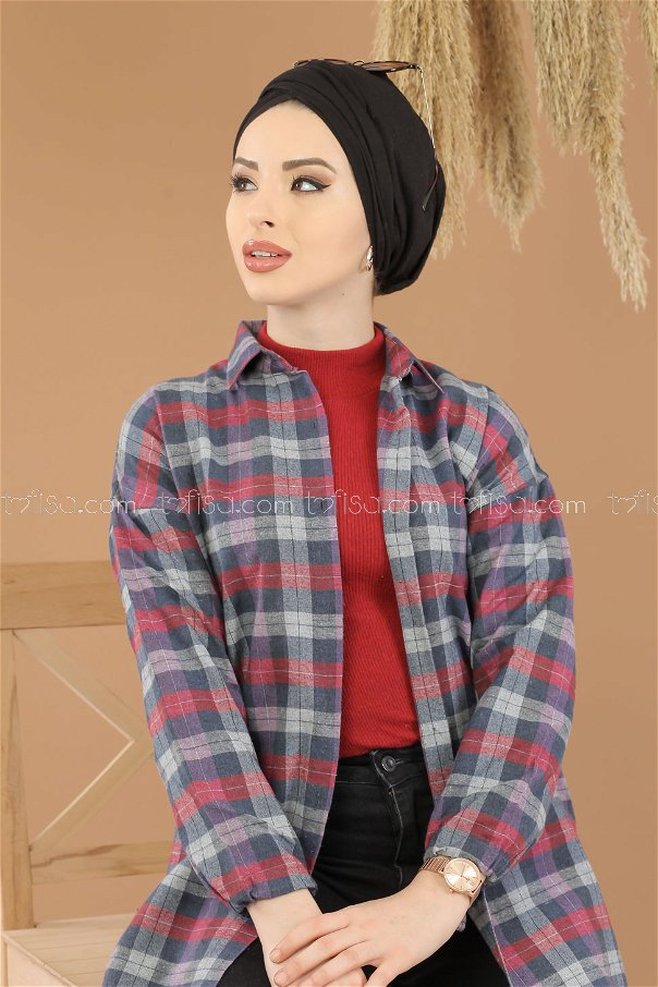 Tunic Plaid navy blue claret red - 8287