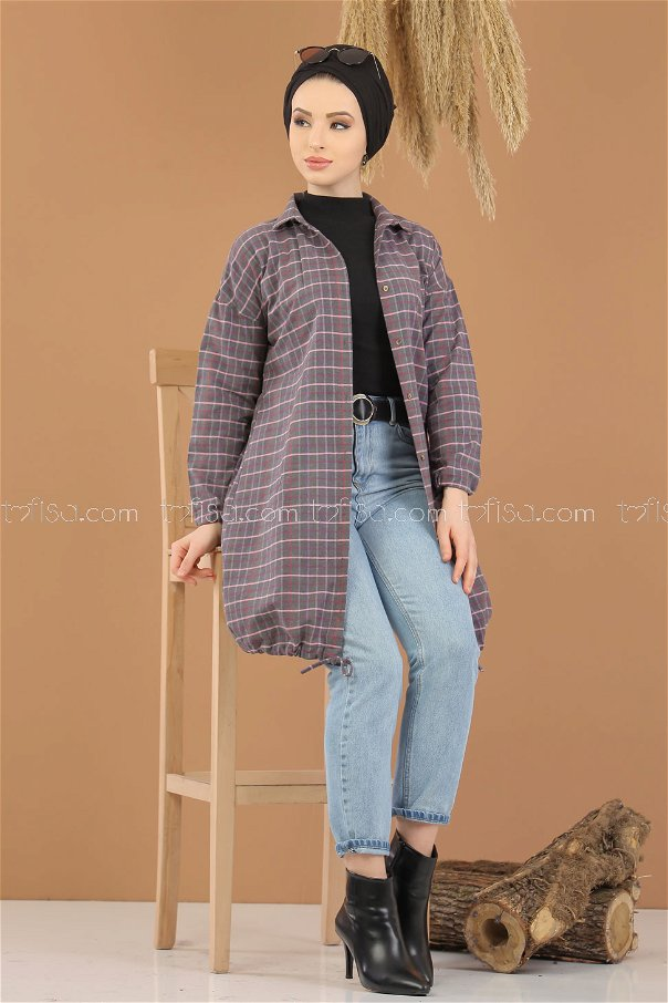 Tunic Plaid striped Smoked - 8129