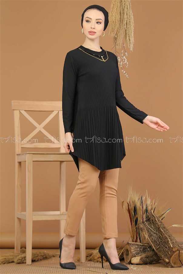 Tunic pleated Necklace black - 8191