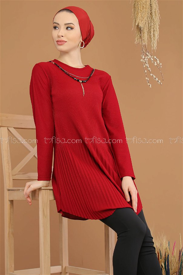 Tunic pleated Necklace claret red - 8191