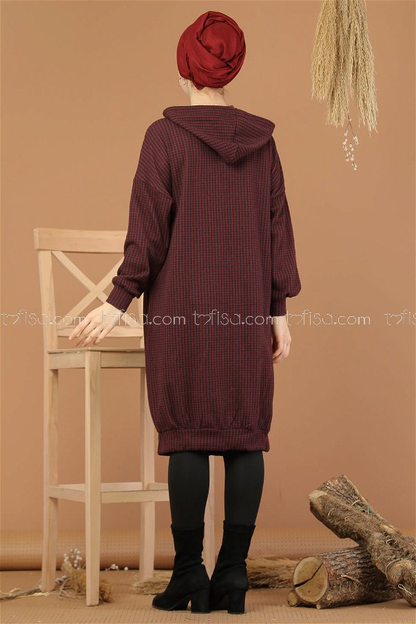 Tunic pockets Hooded claret red - 8201