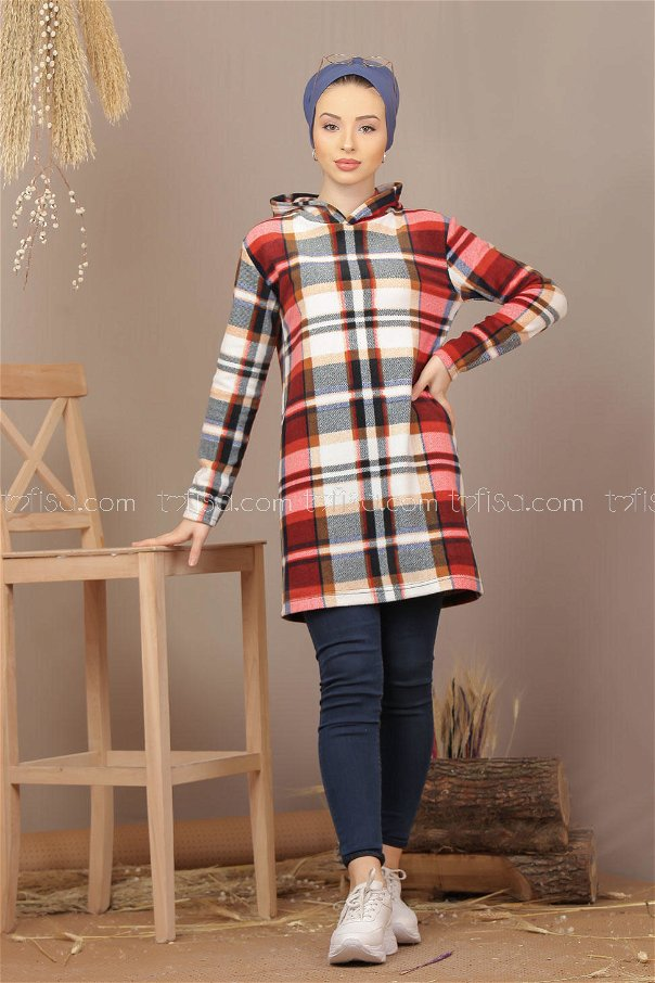 Tunic polar hooded claret red - 7935