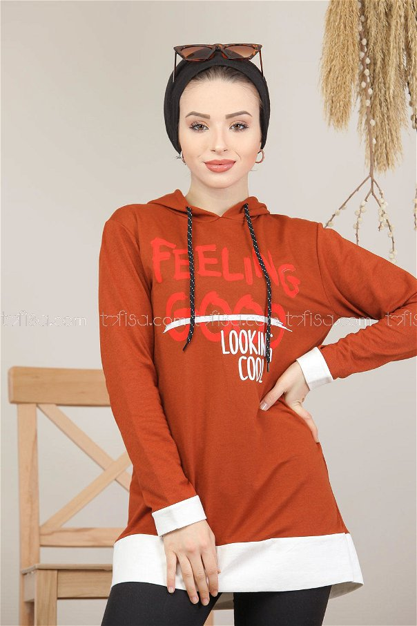 Tunic Printed Hooded orange - 8152