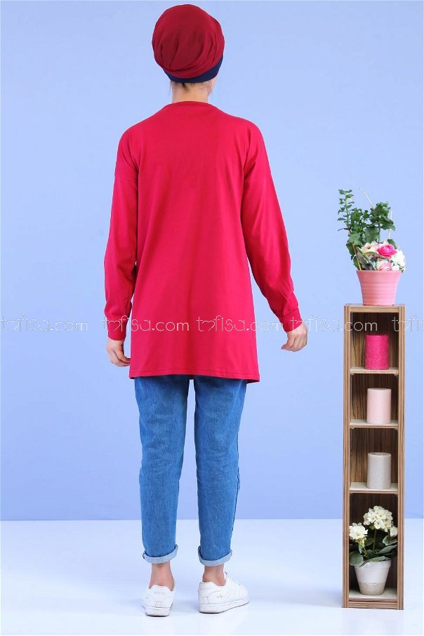 Tunic printed pockets Claret Red - 02 6971