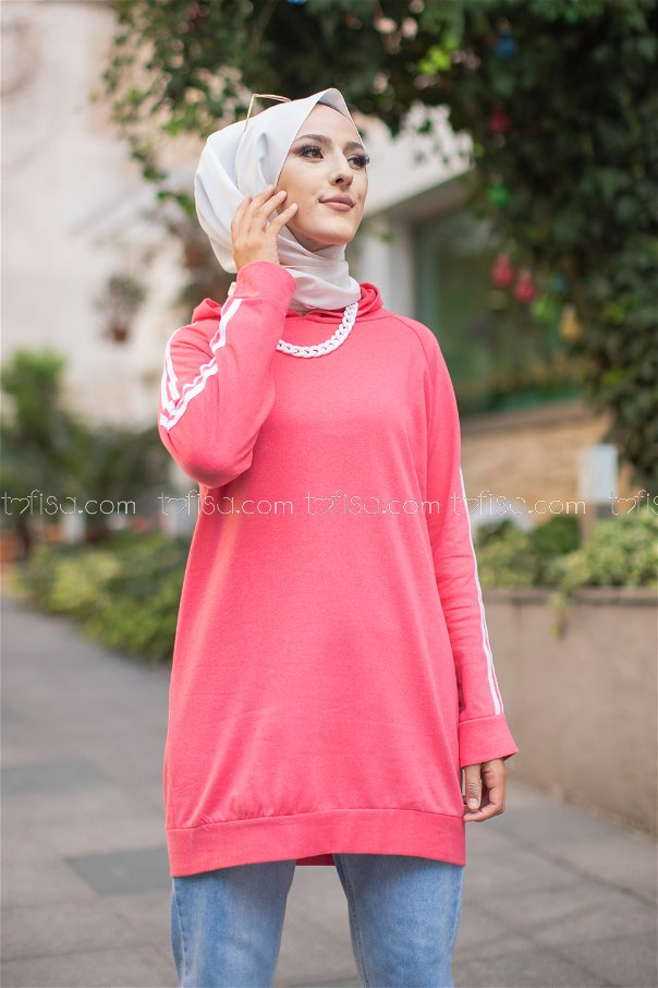 Tunic Sleeve Striped Coral- 2828