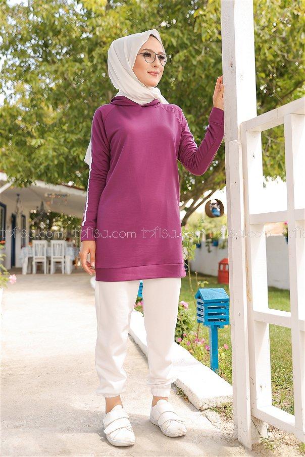 Tunic Sleeve Striped Damson - 2828