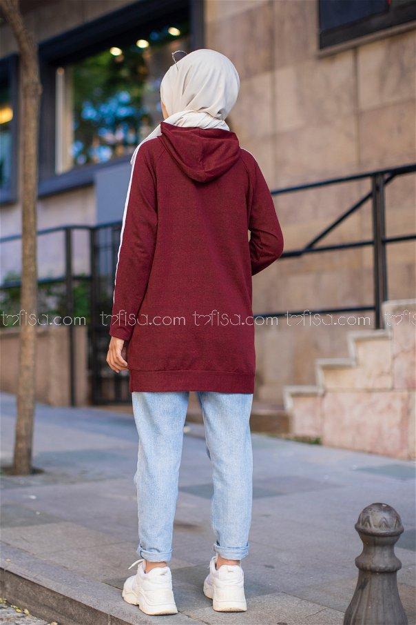Tunic Sleeve Striped Dark Burgundy- 2828