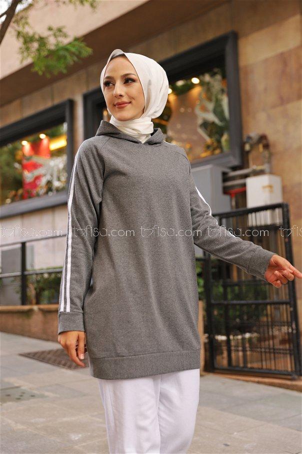 Tunic Sleeve Striped Dark Gray - 2828