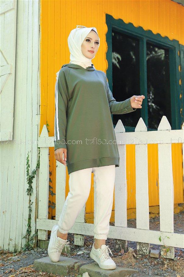 Tunic Sleeve Striped Khaki - 2828