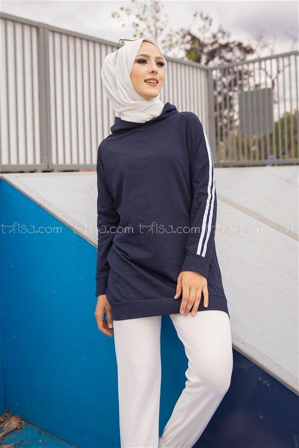 Tunic Sleeve Striped Navy Blue - 2828