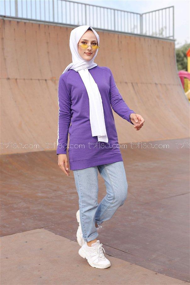 Tunic Sleeve Striped Purple- 2828