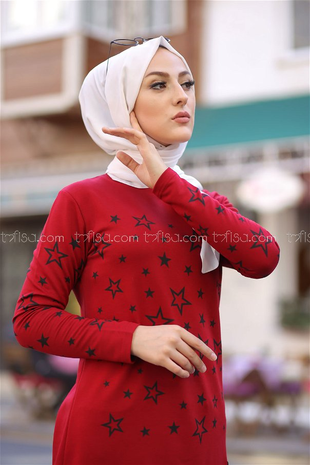 Tunic Star Printed Claret Red - 8385