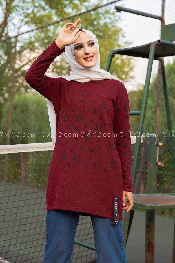 Tunic Star Printed Dark Claret Red - 8385