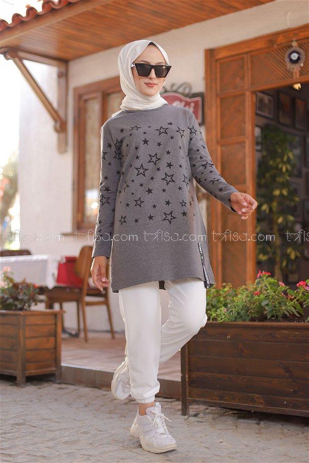 Tunic Star Printed Dark Gray - 8385