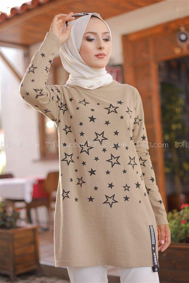 Tunic Star Printed Light Beige - 8385