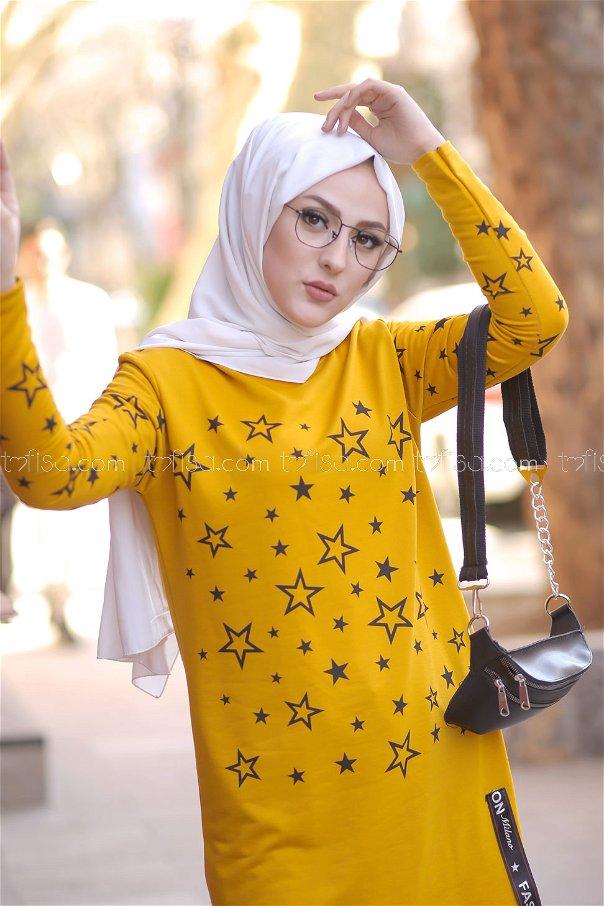 Tunic Star Printed Mustard - 8385