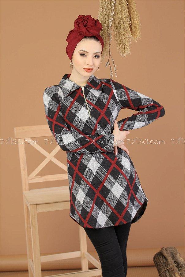 Tunic Zipped claret red - 5246