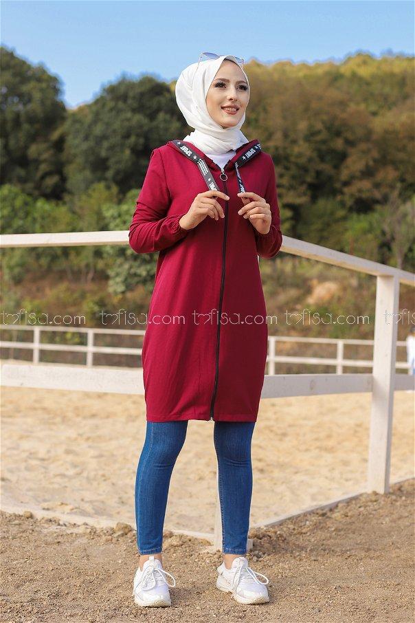 Tunic Zippered Dark Claret Red - 3038