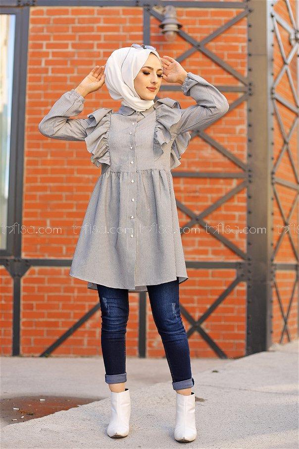 Tunik Beyaz Siyah - 9059