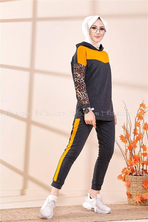Tunik Pantolon Antrasit Hardal - 3095