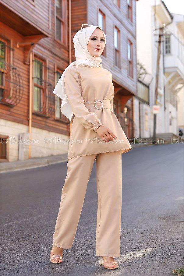 Tunik Pantolon Bej - 1366