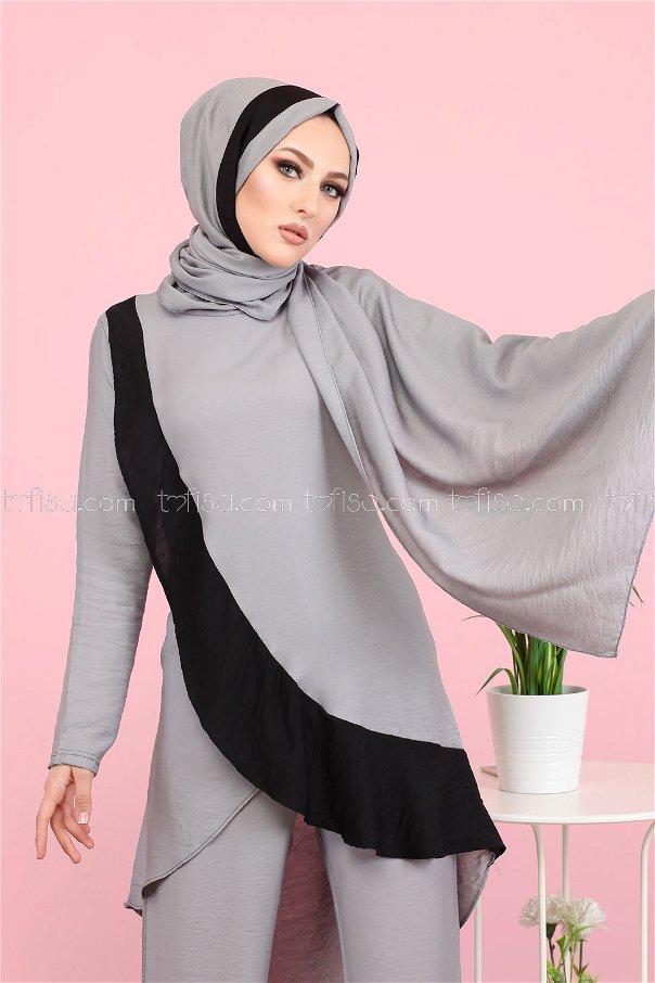 Tunik Pantolon Şal Gri - 3043