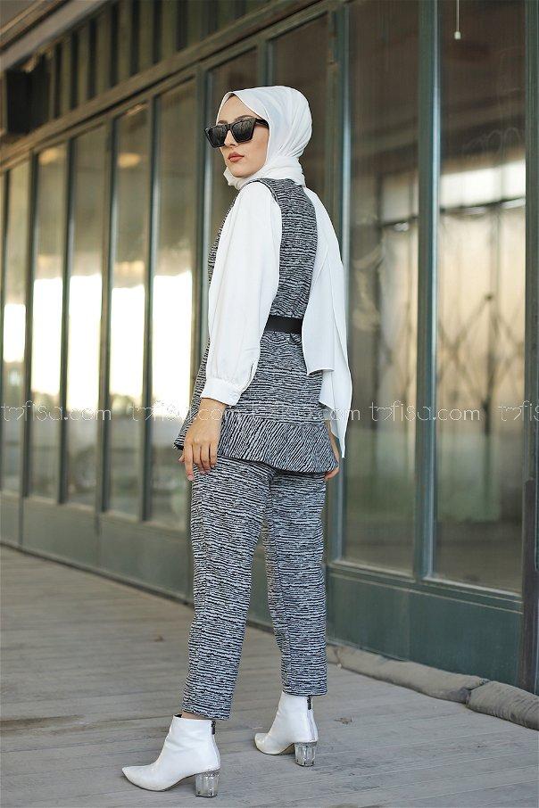 Tunik Pantolon Kemer Gri - 8625