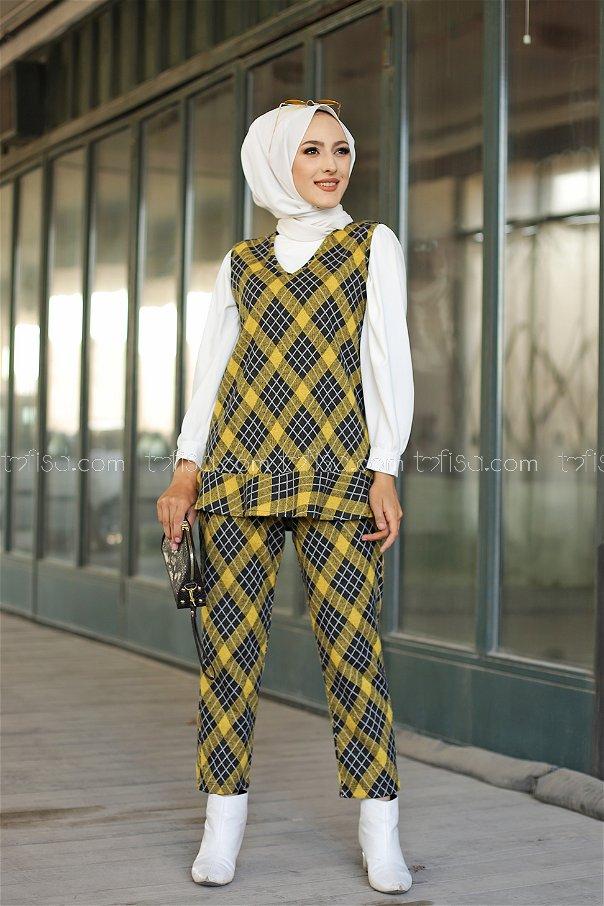 Tunik Pantolon Kemer Sarı - 3336
