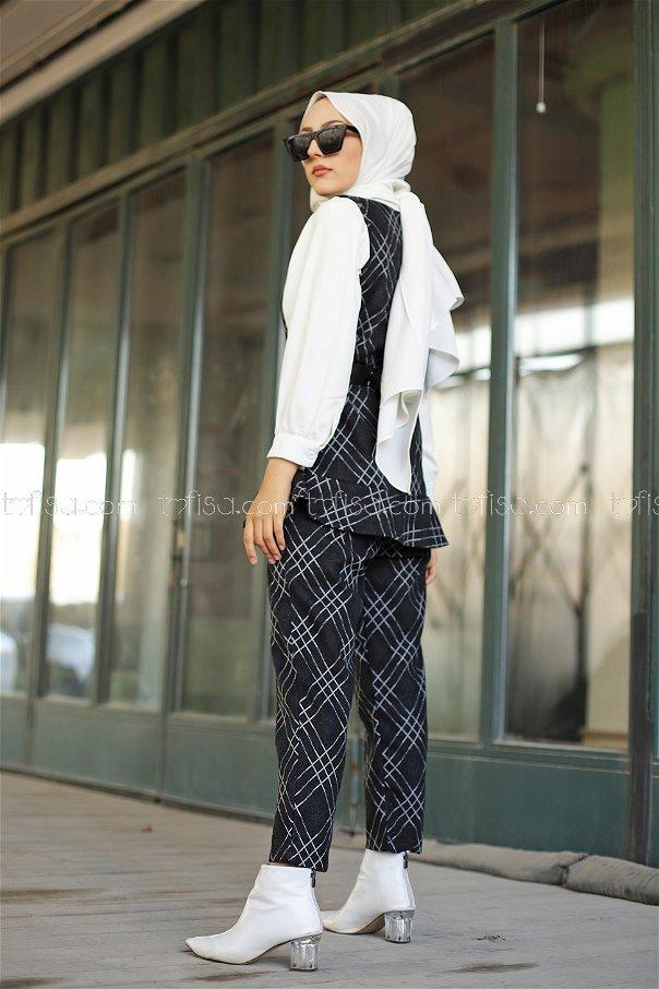Tunik Pantolon Kemer Siyah - 3336