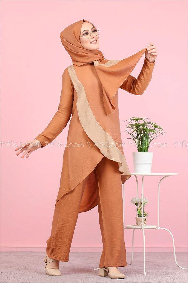 Tunik Pantolon Şal Kiremit - 3043
