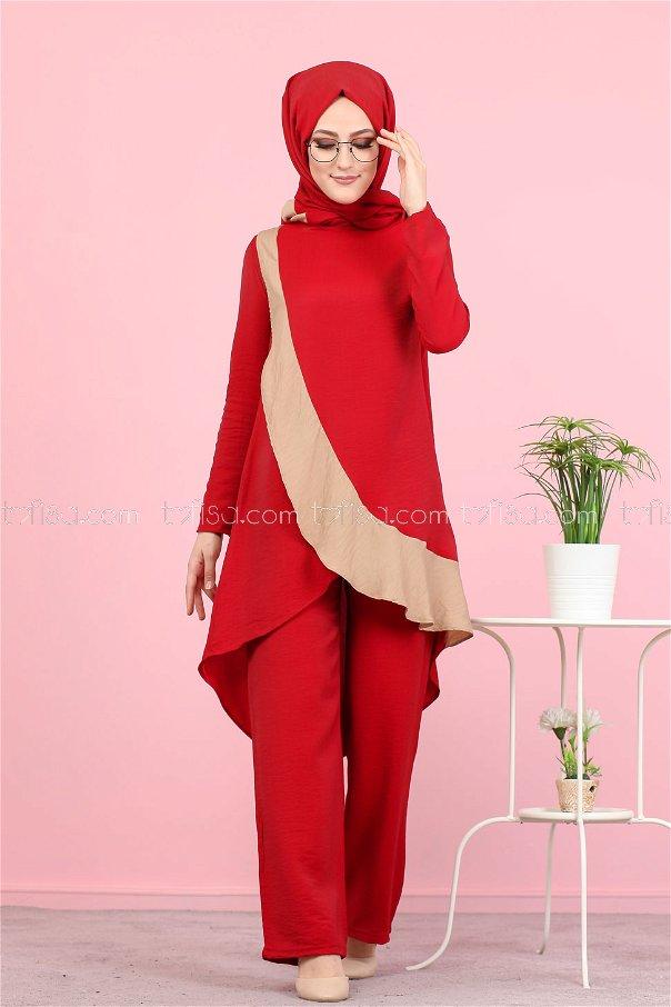 Tunik Pantolon Şal Kırmızı - 3043