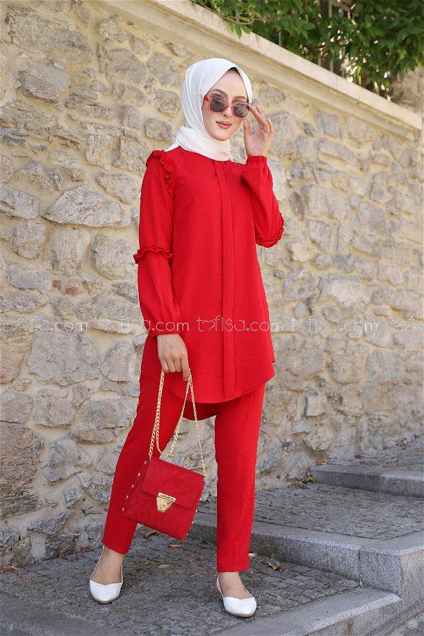 Tunik Pantolon Kırmızı - 9043