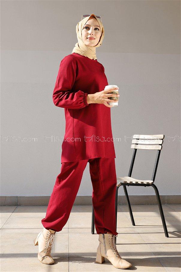 Tunik Pantolon Koyu Bordo - 1366