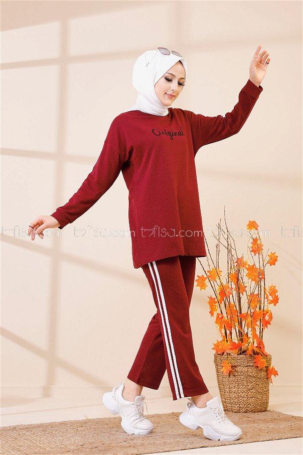 Tunik Pantolon Koyu Bordo - 8401