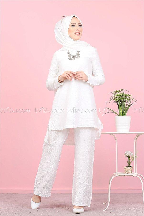 Tunik Pantolon Şal Beyaz - 3030