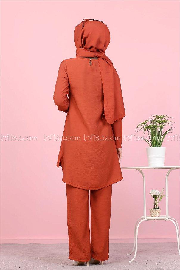 Tunik Pantolon Şal Kiremit - 3030