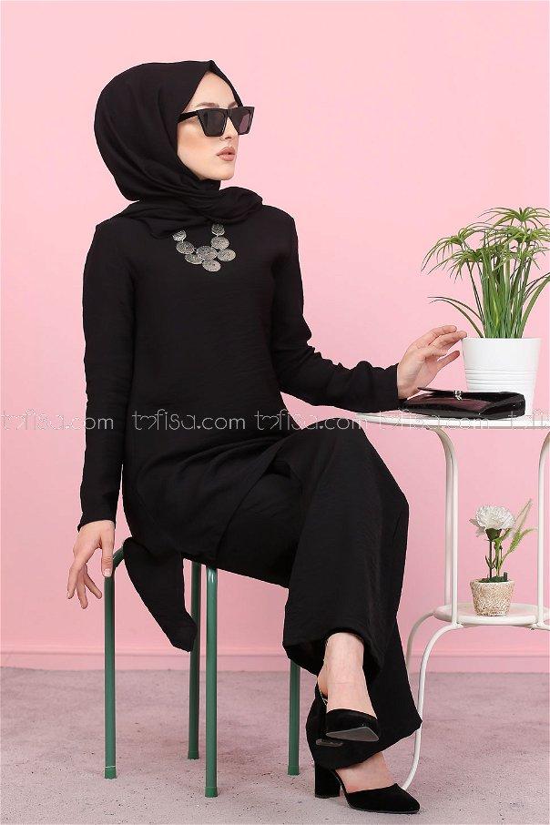 Tunik Pantolon Şal Siyah - 3030