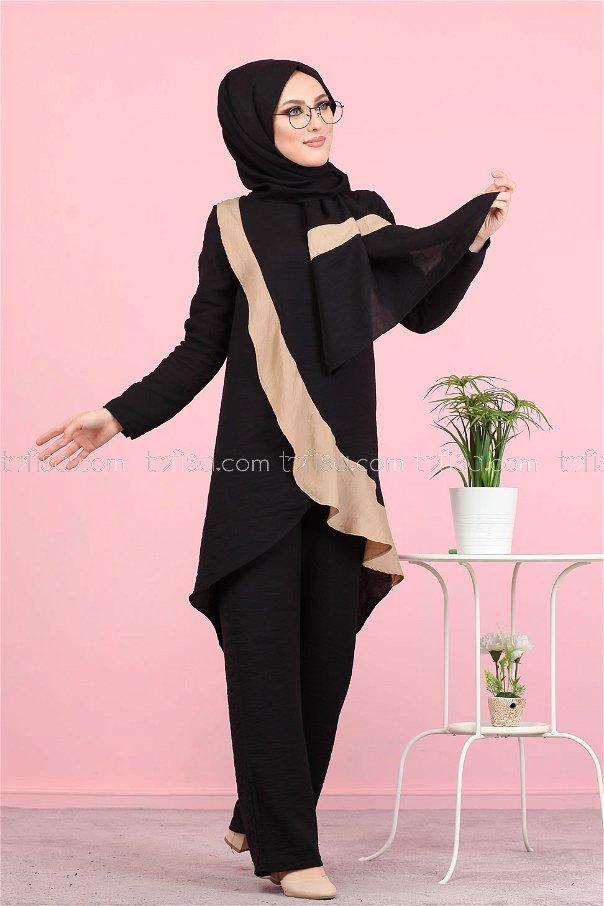 Tunik Pantolon Şal Siyah - 3043