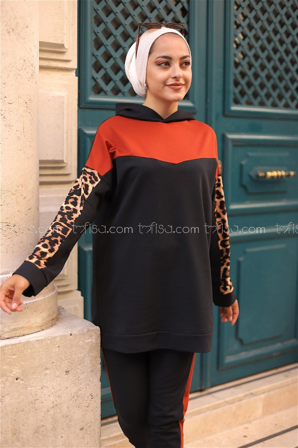 Tunik Pantolon Siyah Kiremit - 3095